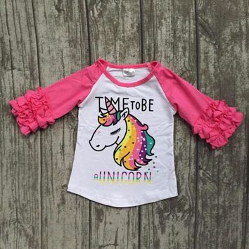 baby girls Fall boutique clothing girls time to be a unicorn raglans girl  top t- 7c834a352d91