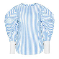 Blue And White Stripes Zipped Back Puff Sleeve Blouse
