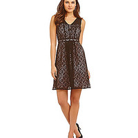 Adrianna Papell Sweetheart Bust Fit-and-Flare Dress - Black