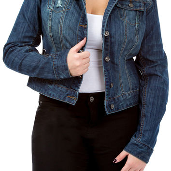Junior Plus Cropped Denim Jacket