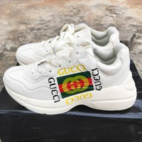 GUCCI Fashion New Letter Stripe Print Running Sport Leisure Couple Shoes