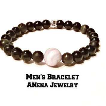 "Men's Bracelet Genuine:jasper, blue lace and black agate, and Silver-Plated Copper bead ""I Am Able To Communicate"" OOAK"" By A'Nena Jewelry"