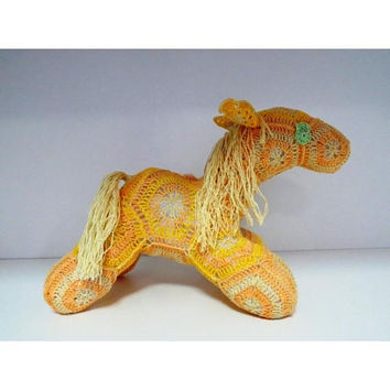 Lovely horse crocheted with the Happy African Flower Amigurumi horse gift for toddler accessory for a nursery or  kids bedroom CE sertifed