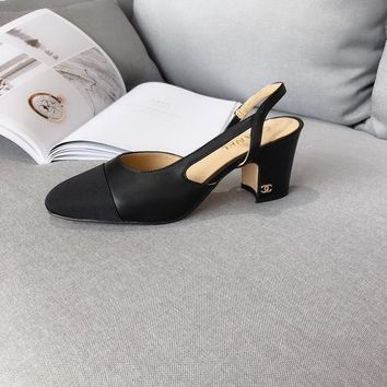 chanel hollow classic leather casual female black high 6cm