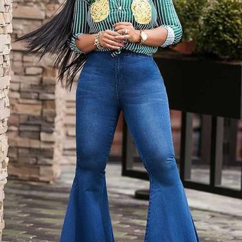 Dark Blue Pockets Buttons High Waisted Bell Bottom Casual Flare Long Jeans