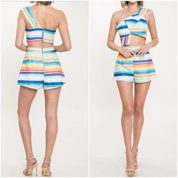Rainbow Striped Shorts Set (Pre-Order)