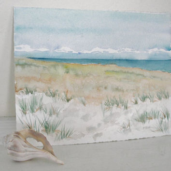 Beach Dune Art Scene Watercolor Painting by maryrichmonddesign