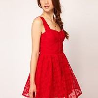 Dahlia Lace Skater Dress With Heart Studs at asos.com
