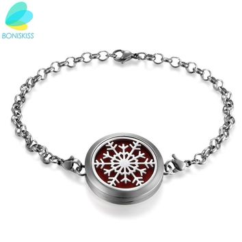 Boniskiss Hot Stainless Steel Perfume Locket Bracelet Round Aromatherapy Essential Oil Diffuser Locket Bracelet With Chain