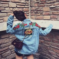 GUCCI Flower Embroidered Denim Cardigan Jacket Coat