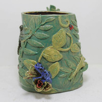 Rainforest Vase Poison Dart frog, anole, dragonfly and bromeliad Stoneware vase Handsculpted
