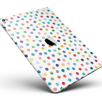 "Rainbow Watercolor Dots over White Full Body Skin for the iPad Pro (12.9"" or 9.7"" available)"
