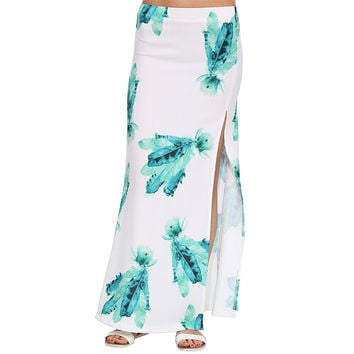 Blue Feather Print Maxi Skirt with Slit
