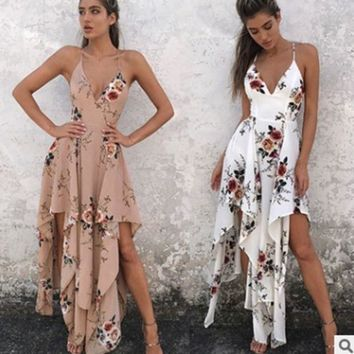 ac NOVQ2A Bohemian Sexy Harness Irregular Dress