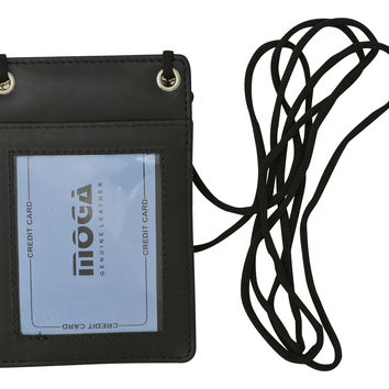 Moga Genuine High End Leather Neck Strap ID Badge Credit Card Holder Pouch Wallet 90561