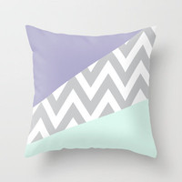 Mint & Lavender Chevron Block Throw Pillow by daniellebourland | Society6