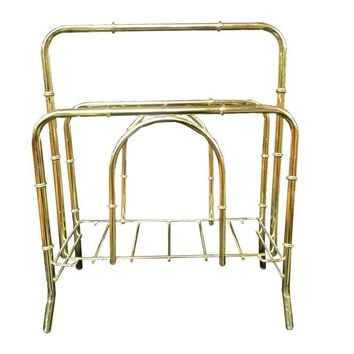 Pre-owned Faux Bamboo Brass Magazine Rack