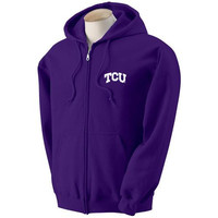 Texas Christian Horned Frogs NCAA Small Arch Solid Logo Purple FullZip Hooded Fleece (2X Large)