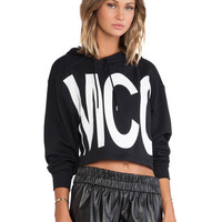 Black MCC Graphic Print Hooded Short Jacket