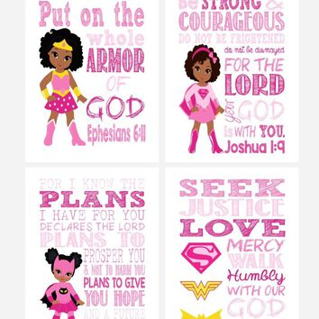 African American Christian Superhero Set of 4 - Nursery Wall Art Print - Supergirl, Batgirl, Wonder Woman