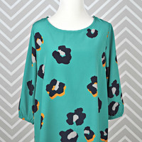 Digital Cheetah Blouse - Teal