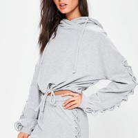 Missguided - Grey Lace Up Sleeve Detail Cropped Hoodie