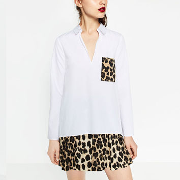 Vintage ZA Leopard Pocket Loose Shirt Casual Turn-down Collar Pullover Long Sleeve New Trendy Women Femme HI-LO Blouse Top White