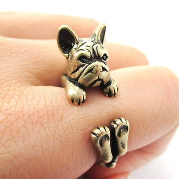 Realistic French Bulldog Dog Shaped Animal Wrap Around Ring in Brass | US Sizes 4 to 8.5