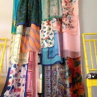Gypsy Boho Curtain Panels, Window Treatment- Bohemian, Anthropologie Inspired - OOAK, Repurposed, Upcycled Textiles