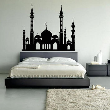 Wall decal decor decals art arab Persian Islam skyline mosque palace castle bedroom design mural (m965)