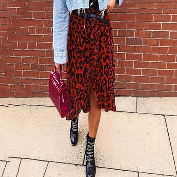 8DESS Sexy leopard midi pencil skirt women high waist ruffle red girl skirts Vintage female korean skirt