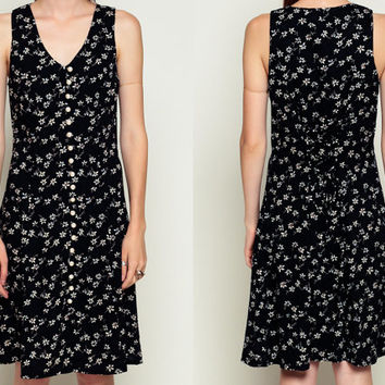 90s Midi Dress Black FLORAL Grunge Print PEARL BUTTON Up Boho Hippie Deep V Neck Bohemian Drape Vintage Sleeveless Princess Seam medium