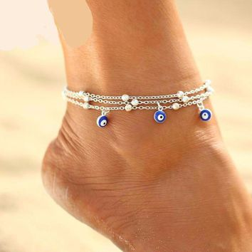 Beads  and Lucky Eyes Anklet