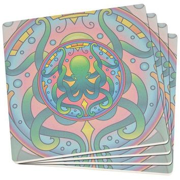 ICIKIS3 Mandala Trippy Stained Glass Octopus Set of 4 Square SandsTone Art Coasters