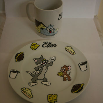 """TOM & JERRY inspired dinner set or seperate items 7"""" 12"""" plates and large mug"""