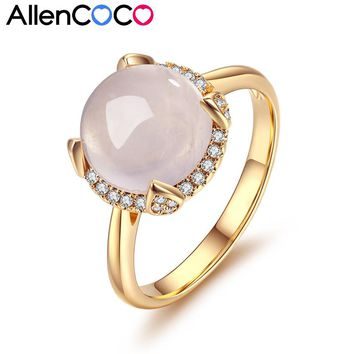 ALLENCOCO High End Luxurious 1pcs Round Pink Semi-precious Stone And Micro Paved CZ Engagement Ring Jewelry