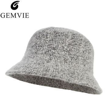 c4af996550d Handmade Knitted Rabbit Fur Blend Fedora Hat Autumn Winter Hats