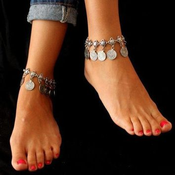 Tribal Bohemian Moon Lovers Coin Tassels Anklet Chain Bracelet Antique Silver Jewelry (size: 1 Color: Antique Silver) = 1928483204