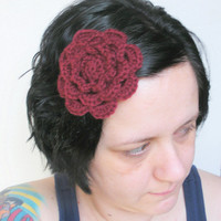 Floral Fascinator Hair Barrette Clip in Maroon Crochet, MADE TO ORDER.