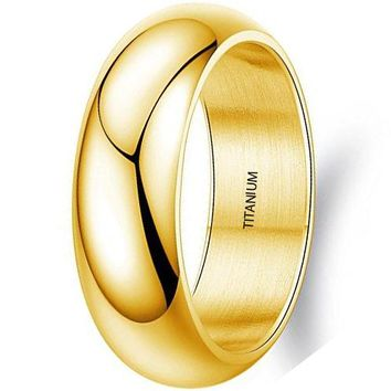 CERTIFIED 7mm Simple Style Titanium Stainless Steel Wedding Ring Domed 18k Gold Engagement Band