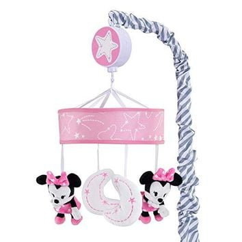 Lambs & Ivy Disney Baby Minnie Mouse Pink/Gray Crib Musical Mobile