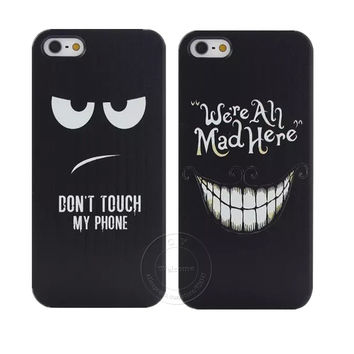 """Don't Touch My Phone ""and"" We're Ah Mad Here"" Style Shell Hard Plastic Case Cover for Apple iPhone 4 4S 5 5S 5C 6 6 Plus"