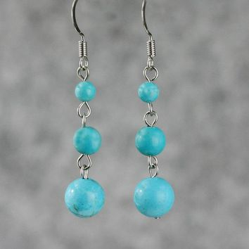Turquoise customized linear long dangling drop earrings Bridesmaids gifts Free US Shipping handmade Anni Designs