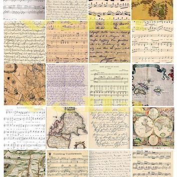 vintage handwriting maps sheet music collage sheet 2 INCH squares