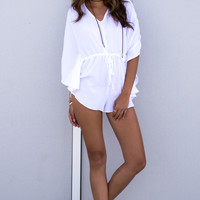 Palm Cover Romper - WHITE