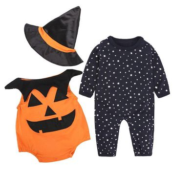MUQGEW Pumpkin Romper Vest Halloween Outfits Costume 3Pcs Set vetement enfant garcon for Infant Baby Boy Girl #TX4