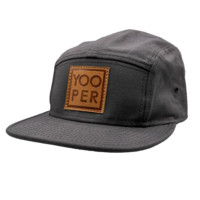 "Hat - ""YOOPER"" Charcoal Five Panel Camper Hat (Leather Patch)"