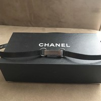 Gorgeous CHANEL black leather w silver hardware skinny belt necklace choker