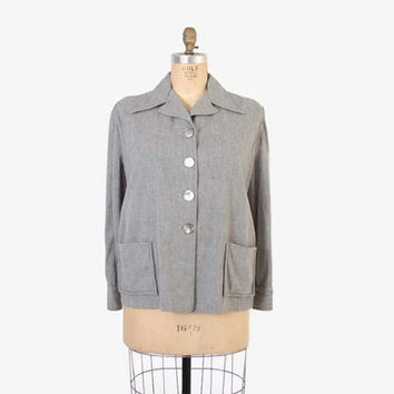 Vintage 50s PENDLETON Jacket / 1950s Grey Wool 49er Jacket L XL