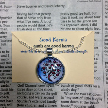 Good Karma Necklace Good Karma Jewelry Quote Gift- aunts are good karma - Silver Tree Of Life Jewelry